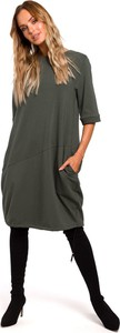 Sukienka MOE midi z okrągłym dekoltem z dresówki