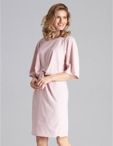 Różowa sukienka Figl z okrągłym dekoltem