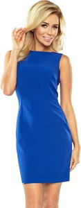Niebieska sukienka NUMOCO bez rękawów z okrągłym dekoltem w stylu casual