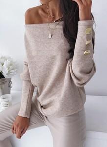 Bluzka Sandbella w stylu casual z długim rękawem z okrągłym dekoltem