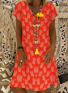 Czerwona sukienka Sandbella mini w stylu boho