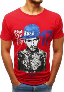 Czerwony t-shirt Dstreet z krótkim rękawem w młodzieżowym stylu z bawełny