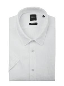 Koszula Boss z lnu z krótkim rękawem z klasycznym kołnierzykiem