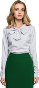 Bluzka Style z tkaniny z okrągłym dekoltem z długim rękawem