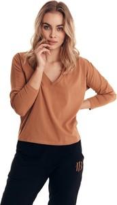 Brązowa bluzka Badura w stylu casual z bawełny z długim rękawem