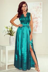 Niebieska sukienka Merg bez rękawów z dekoltem w kształcie litery v maxi