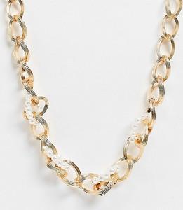 Reclaimed Vintage Inspired – Naszyjnik z grubym łańcuszkiem w kolorze złotym z perełkami