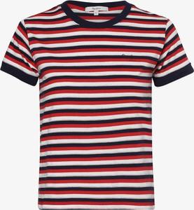 Czerwony t-shirt Pepe Jeans z okrągłym dekoltem