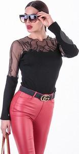Czarna bluzka Ivet.pl z okrągłym dekoltem z długim rękawem