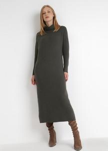 Zielona sukienka born2be maxi z tkaniny z długim rękawem