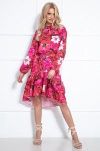 Sukienka Fobya z długim rękawem z tkaniny asymetryczna