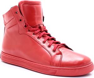 KENT 306S CZERWONE - Wysokie buty ze skóry