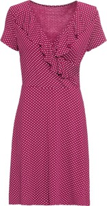 Różowa sukienka bonprix BODYFLIRT trapezowa z dekoltem w kształcie litery v z krótkim rękawem