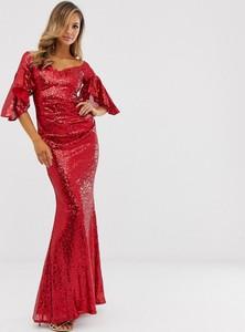 Czerwona sukienka City Goddess z długim rękawem maxi