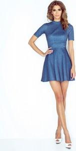 Niebieska sukienka MORIMIA ze stójką