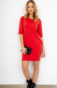 Czerwona sukienka ZOiO.pl midi z bawełny z długim rękawem