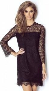 Czarna sukienka Ivon z długim rękawem