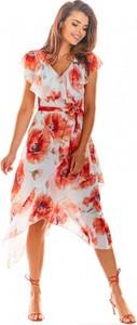 Sukienka Awama asymetryczna z krótkim rękawem