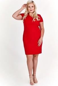 Czerwona sukienka Fokus w stylu casual z krótkim rękawem midi