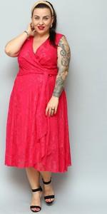 Czerwona sukienka KARKO midi z dekoltem w kształcie litery v