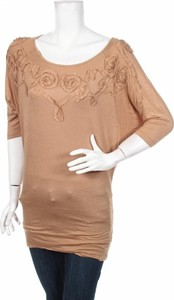Brązowa bluzka Last Girl w stylu casual z okrągłym dekoltem