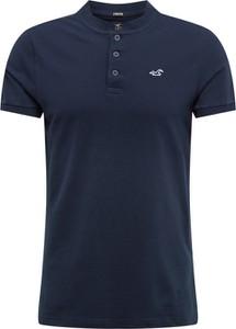 Granatowy t-shirt Hollister Co. z dżerseju