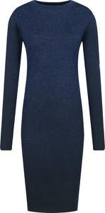 Granatowa sukienka Silvian Heach midi dopasowana z długim rękawem