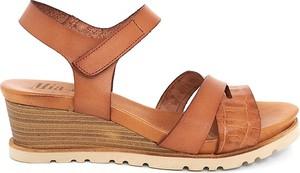 Brązowe sandały Mia Loé z klamrami ze skóry