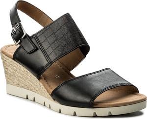 Czarne sandały gabor z tkaniny w stylu casual