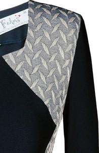 Granatowa sukienka Fokus z dekoltem w kształcie litery v z długim rękawem dla puszystych