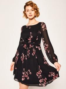 Sukienka Pennyblack mini z okrągłym dekoltem z długim rękawem