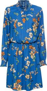 Niebieska sukienka bonprix RAINBOW z długim rękawem z szyfonu mini