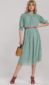 Miętowa sukienka Renee z długim rękawem rozkloszowana midi