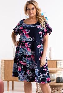 Sukienka KARKO w stylu casual dla puszystych z okrągłym dekoltem