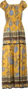 Żółta sukienka Multu z dekoltem w kształcie litery v dla puszystych