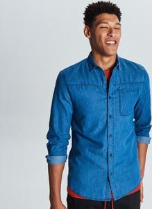 Niebieska koszula Cropp z jeansu z długim rękawem w stylu casual
