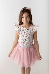 Bluzka dziecięca Myprincess / Lily Grey z krótkim rękawem z tiulu w kwiatki
