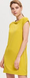 Żółta sukienka Reserved w stylu casual z krótkim rękawem midi
