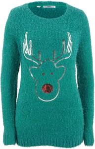 Sweter bonprix bpc bonprix collection w bożonarodzeniowy wzór w stylu casual