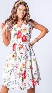 Sukienka Omnido.pl z krótkim rękawem z lnu