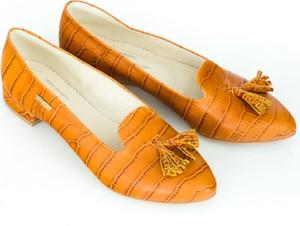 Pomarańczowe baleriny Zapato w stylu glamour z płaską podeszwą