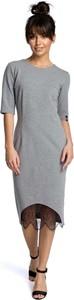 Sukienka MOE z okrągłym dekoltem z krótkim rękawem midi