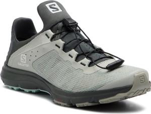 f4f1f6a867372 Zielone buty sportowe Salomon w sportowym stylu z płaską podeszwą