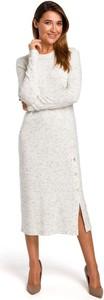 Sukienka Merg w stylu casual z długim rękawem z okrągłym dekoltem