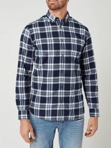 Granatowa koszula Jack & Jones z bawełny z długim rękawem w stylu casual