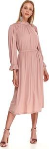 Sukienka Top Secret z długim rękawem midi z okrągłym dekoltem