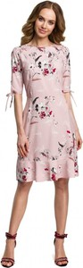 Różowa sukienka MOE z tkaniny w stylu casual z okrągłym dekoltem