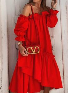 Sukienka Sandbella z długim rękawem asymetryczna maxi