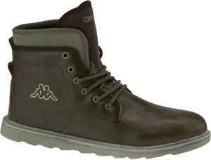 Brązowe buty zimowe Kappa ze skóry w stylu casual sznurowane