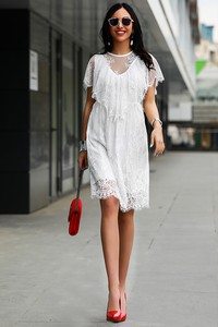 Sukienka Ivet.pl midi w stylu casual z okrągłym dekoltem